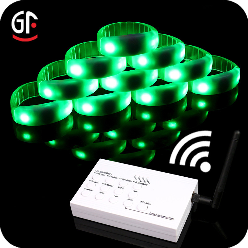 Wedding Souvenirs 2 in 1 Function Color Changing LED Wristbands DMX512 RFID/Radio/Remote Control
