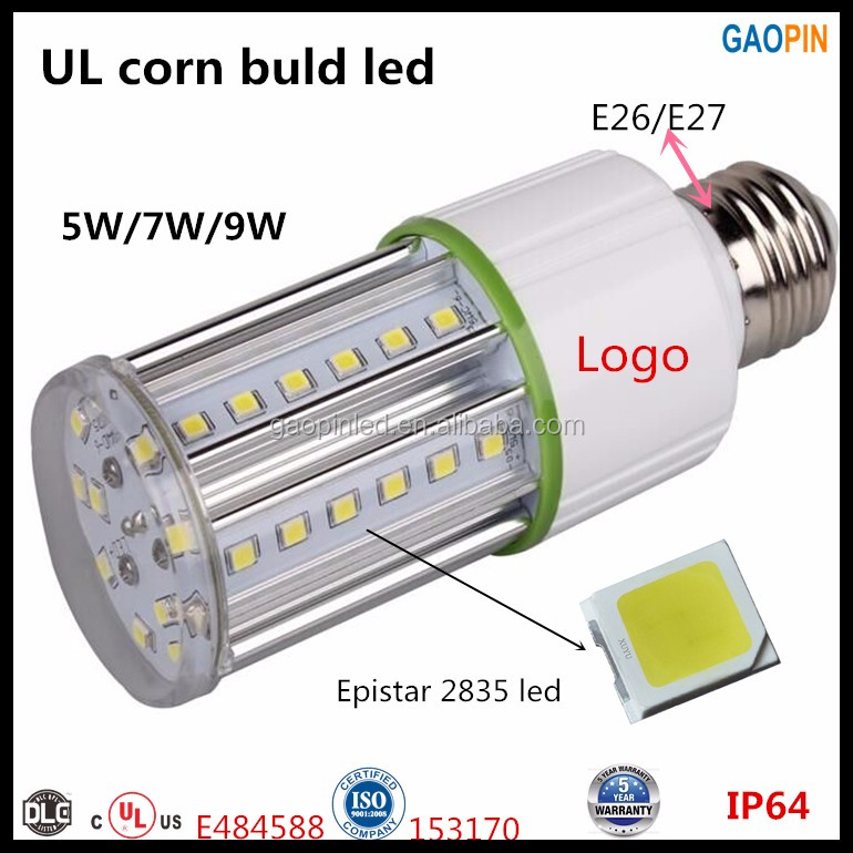 Led PL 5W 7W 9W 12W 15W 20W G24 E26 E27 PL lamp 6400K UL led Corn light lamp