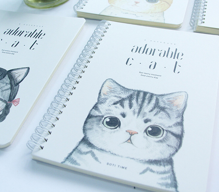 New Arrival White Card Full Color Logo Accepted Cute Cat Animal Pattern Spiral Notebook