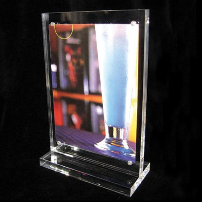 Desktop Magnetic Name Plate Sign Holder /Clear Acrylic Paper Sign Holders With Base