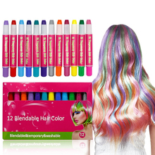 12 Colorful Hair Dye Chalk Pens Edge Chalkers Set Works on All Hair Colors
