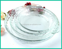 Round heat- resistance glass baking tray/glass pizza baking tray microwave oven safe