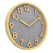 3D numbers fabric dial modern wooden clock