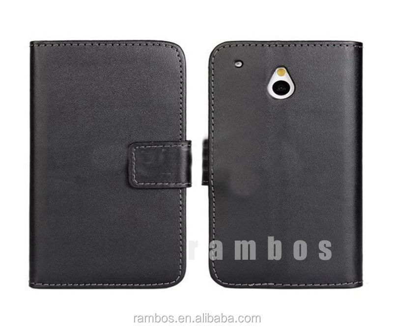 Mobile phone wallet genuine leather flip stand case for HTC One Mini M4