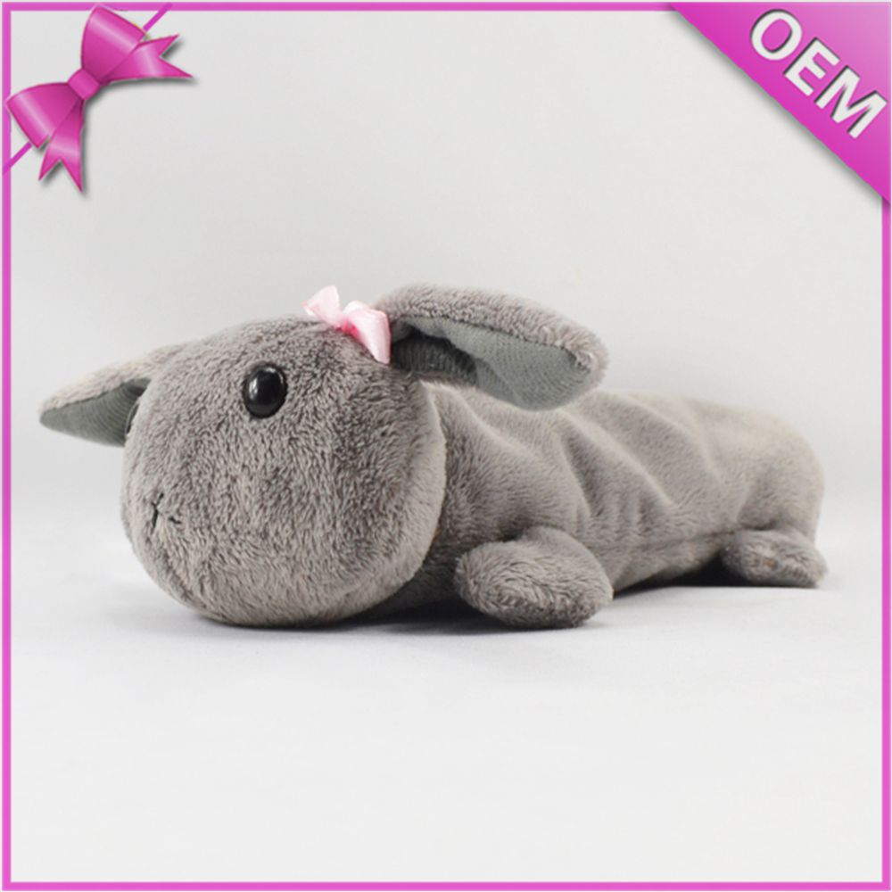 Fancy grey cute soft rabbit pencil bag ,animal shape mini toys pencil case