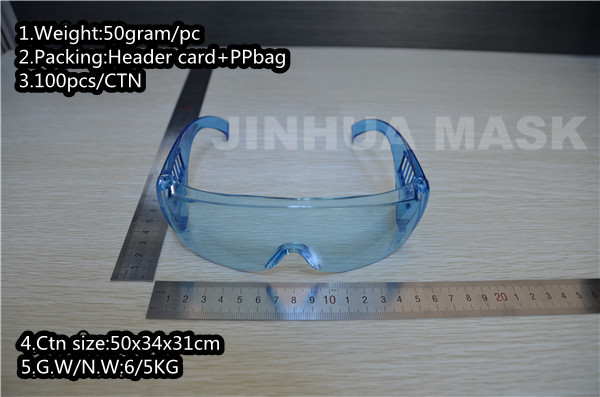 CE and ANSI Z87.1 full view safety goggle