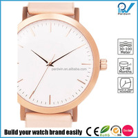 Casual lifestyle timepieces brushed rose gold plated steel case japan movement italian leather strap women tendency watch