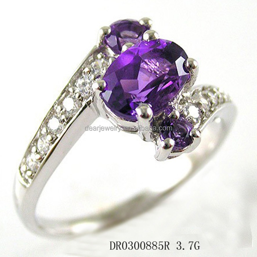 China Factory Direct Wholesale China Jewels, Wholesale 925 Silver Ring With Purple Stone