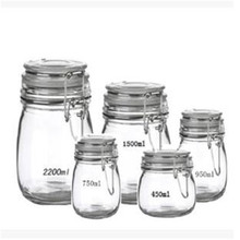 Large empty airtight round shape kilner food container glass storage jar /food container with metal clip