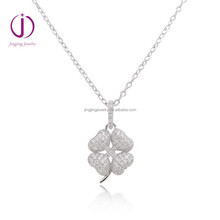 Fashion 925 Sterling Silver Four Leaf Clover Pendant with cz stone