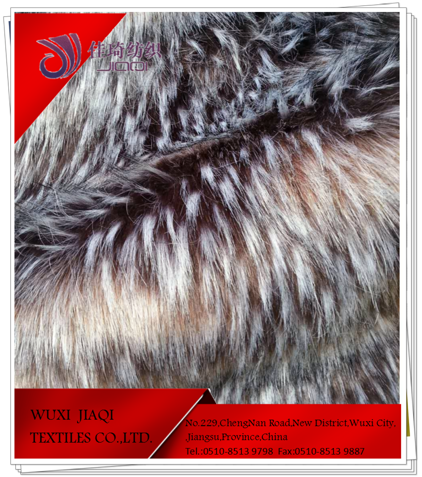 Long pile tip dyed jacquard faux fur fabric