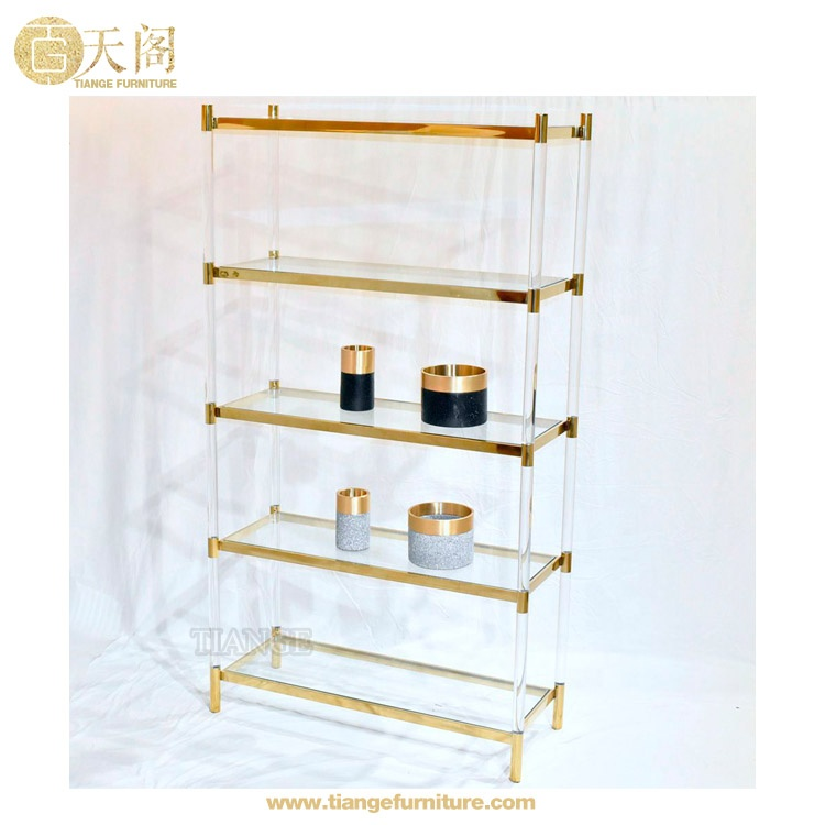 Eichholtz Trento modern classic clear glass and acrylic 5 shelf stainless steel display open bookcase in gold