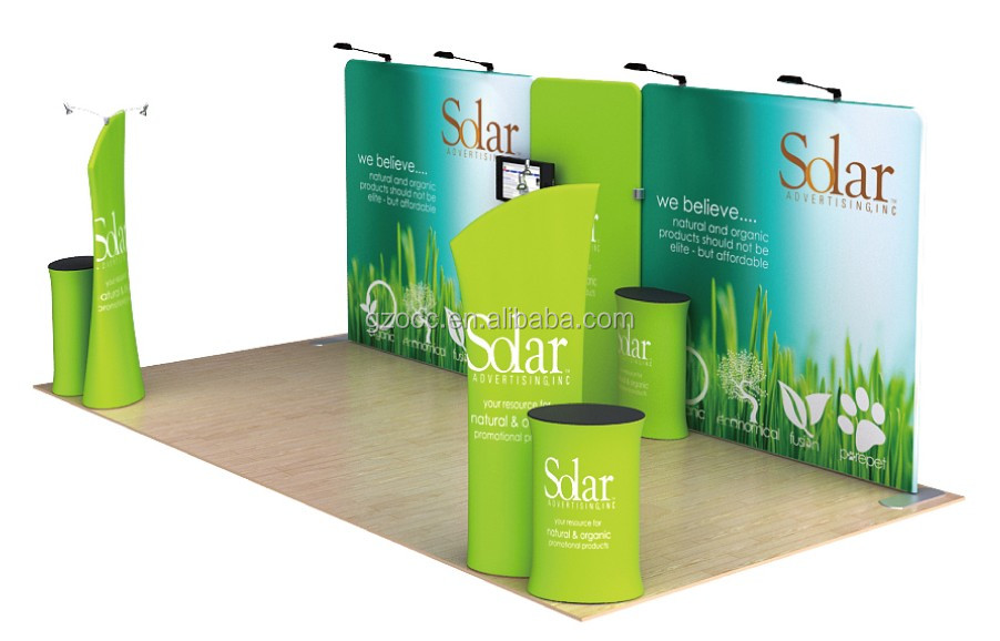portable tension fabric trade show backdrop display stand