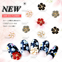Double Flowers Nail Art 3D Glitter Rhinestones Gold Alloy Design Decorations For Nails Studs