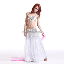 Wuchieal White Sexy Performance bellydance costume , Bra + Belt