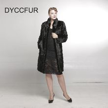 Classical Winter Women Black Real Mink Fur Coat