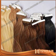 Top quality virgin brazilian wholesale human remy clear band tape hair extensions