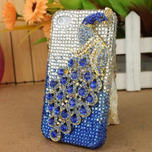 2014 Latest Wholesale Fashion 3D Peacock jeweled cell phone cover cute cellphone case
