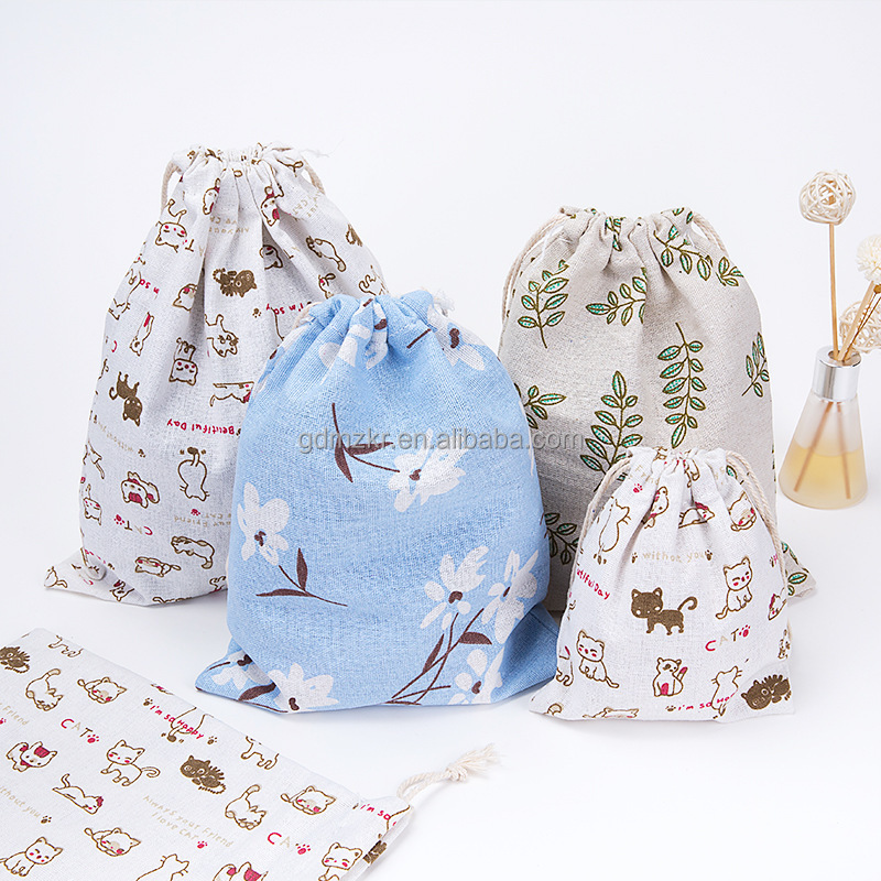 custom small Christmas drawstring cotton bag for cosmetic / candy / beach