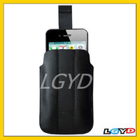 Black Leather Case with Pull Tab for iPhone 4 / 4S / 3G/ 3GS and Other Similar Size Mobile Phones