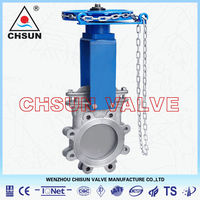 QB SS304 Chain Wheel Actuator knife Gate Valve for Pulping