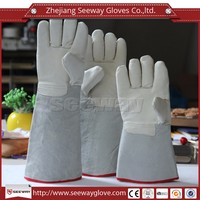 Seeway Cowhide Split Leather Welding Gauntlet Gloves with Full Lining