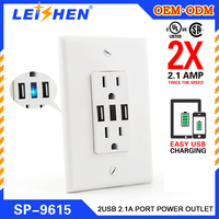 USB Wall Outlet Plate / Wall Mount Surge Protectors / Power Strips Plate Socket with Dual USB Port.