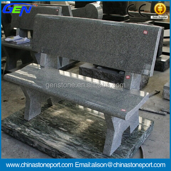 Polished Natural Stone G633 Grey Granite Cemetery Bench Tombstone
