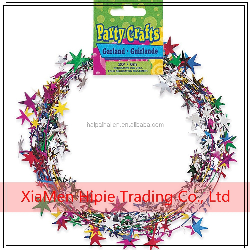 Metallic PVC Rainbow Wire Tinsel garland Gift Wrapping Wired Garlands