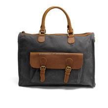 Batik cloth male retro single shoulder slant with leather waxed canvas tote bag business document laptop leisure handbag