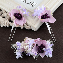Flowers Hairpin Beautiful Faery White Purple Hair Fork