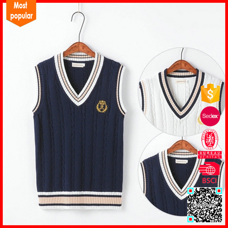 Design sleeveless cable sweater vest japanese school uniform