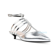 China shoe factory ladies pure silver pointy gladiator sandals kitten heel shoes woman 2017