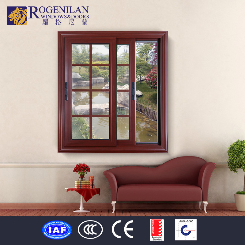 ROGENILAN decorative interior double glass aluminum sliding antique window grille