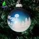 Stock handmade blown hanging Home Decorations Plastic Glass Printing Logo Blue Christmas Ball