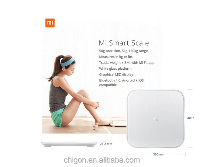Wholesale Original Xiaomi smart Weight Scale Android 4.4 IOS support bluetooth 4.0 for Xiaomi bathroom digital scale White color