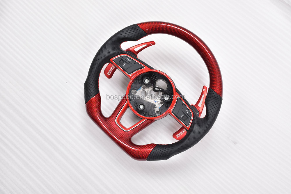 Red carbon fiber steering wheel with paddle shift for 2017 Audi A4L