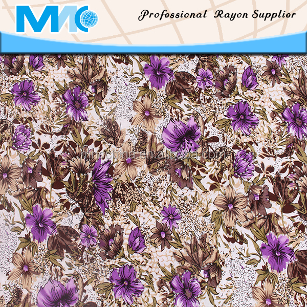 100% Printed rayon fabric for lady's skirt and garments