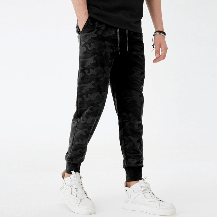 New Design Camo Fashion Ribbing Slim Fit Skinny Track Jogger Pants