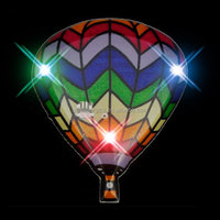 Rainbow Hot Air Balloons Body Light Blinkies led flashing badge electronic brooch