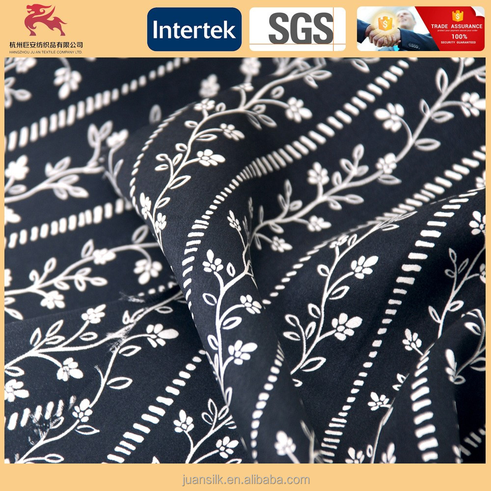 2017 New design 100% Silk digital printed satin fabric for dress/scarf/shirt