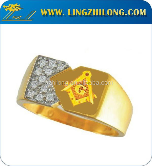 Latest Promotion18 K Gold Masonic Jewelry Rings With White Diamond