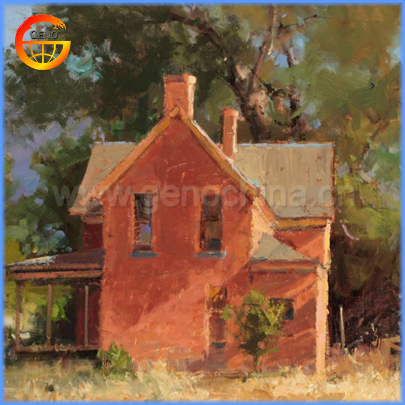 Impressionist House Oil Painting For Indoor Decoration Handmade