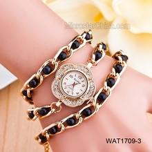 In stock mixed color beautiful girls hand chain pearl strap watch cheap wrist watch