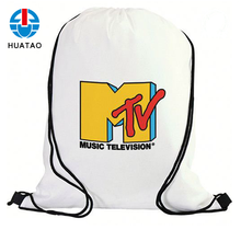 Fugang Custom Promotional Sport Pack Recycled Polyester Carry Drawstring Bag