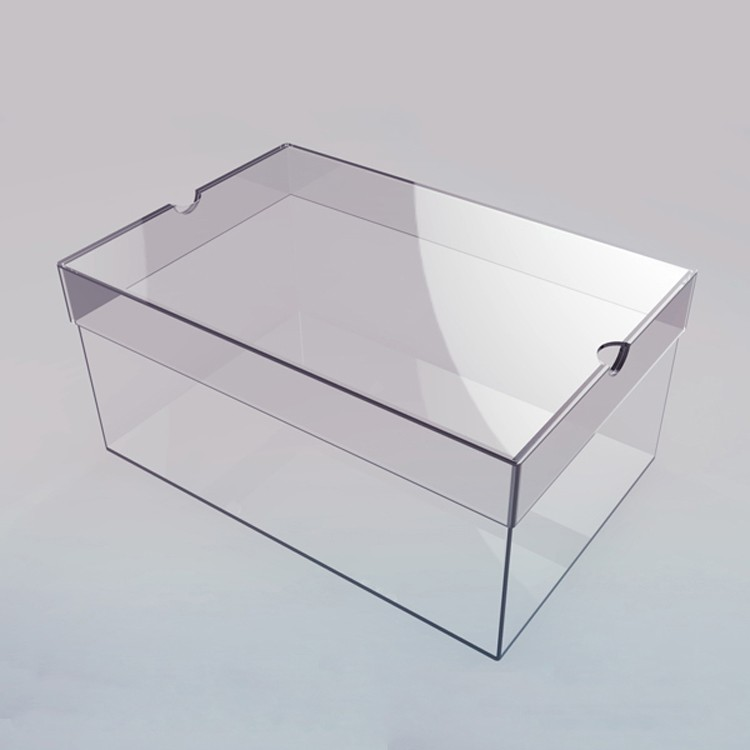 plain reusable clear acrylic shoe display case