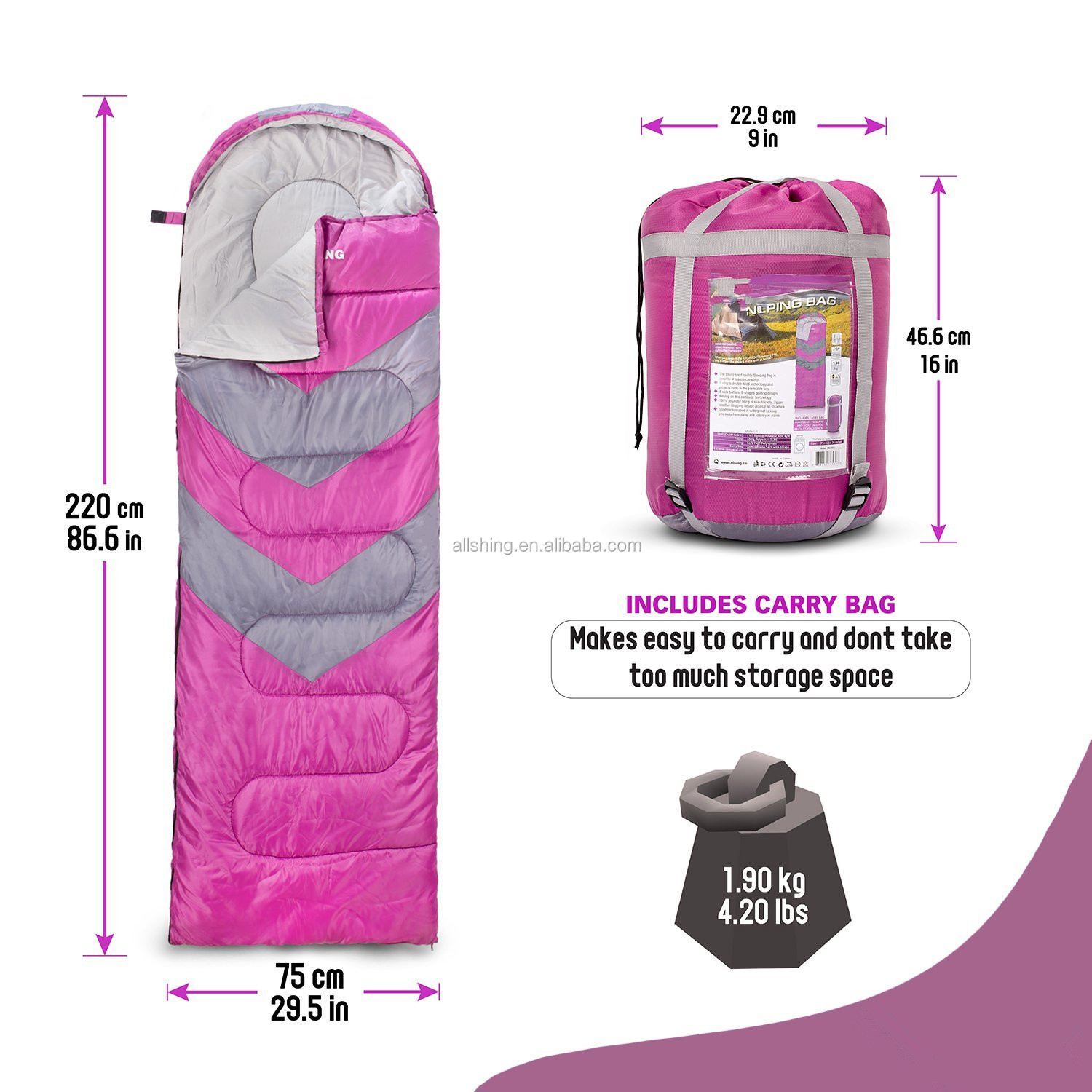Wholesale Sleeping Bag Lightweight For Camping, Backpacking, Travel- Kids Men Women 3-4 Season Ultralight Compact Packable bag