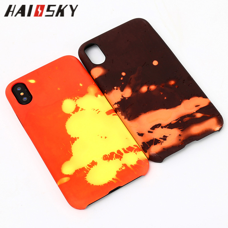 HAISSKY Thermal Sensor For <strong>iPhone</strong> X Case Leather Heat Sensitive Color Change Cover Phone Accessories