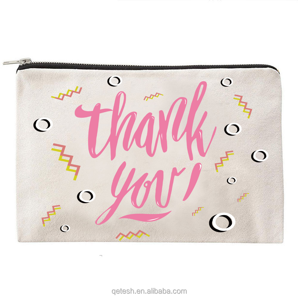 Wholesale Fashion Small Size Canvas Cosmetic Bag Zipper Pouch
