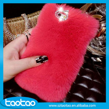 Luxury bling diamond case for iphone 6, for iphone 6 rabbit fur phone case, for iphone fur cell phone case wholesale alibaba